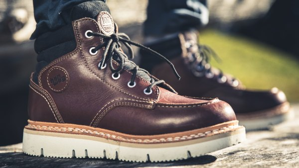 Close-up of brown leather boot
