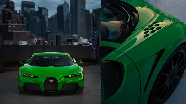 Close-up of lime green sports car