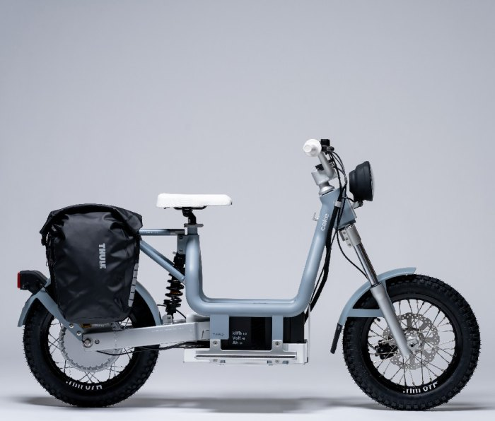 Motorbike with backpack attached