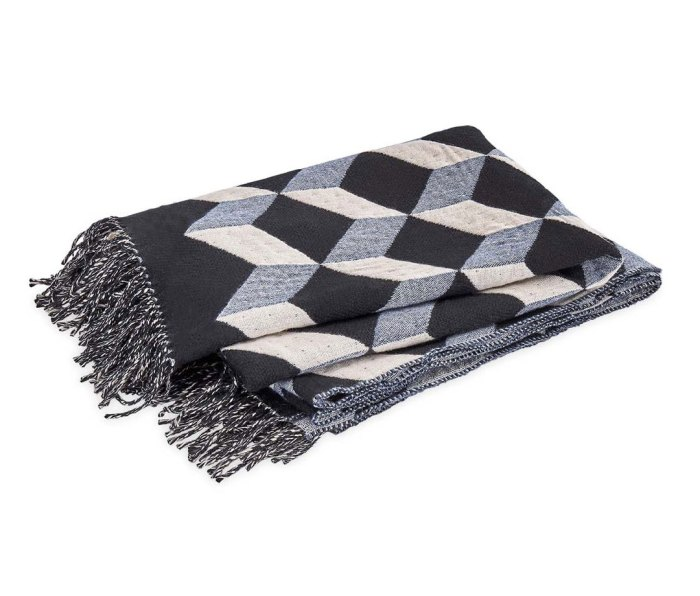 The Leo Throw by Matouk, black, white and grey wool-cashmere throw