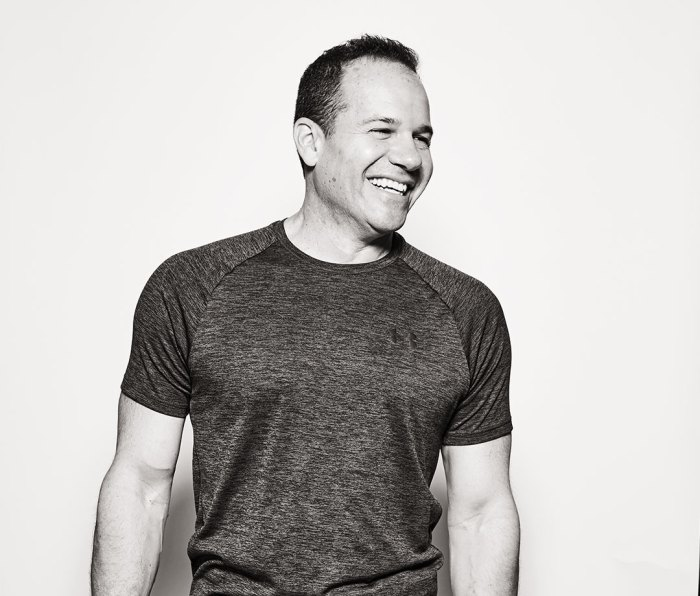 Black and white portrait of man in T-shirt