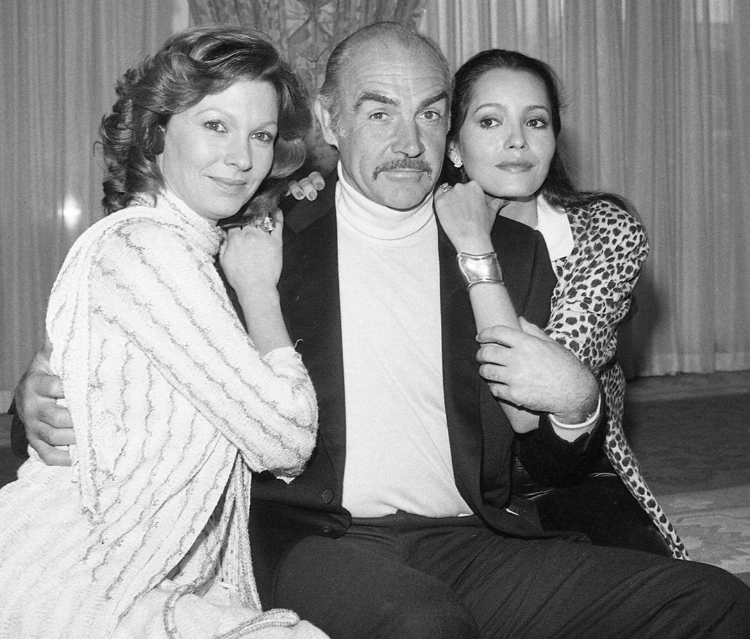 Sean Connery with 'Never Say Never Again' co-stars Barbara Carrera (right) and Pamela Salem