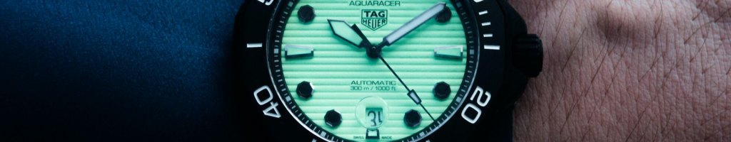 TAG Heuer Aquaracer Professional 300 Night Diver dive watch on the wrist
