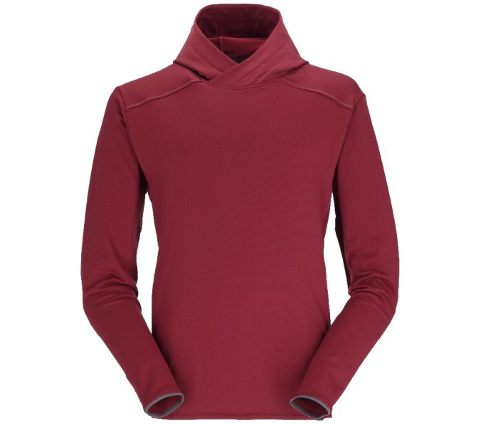 Rab One80 long sleeve midweight climbing hoody, oxblood red