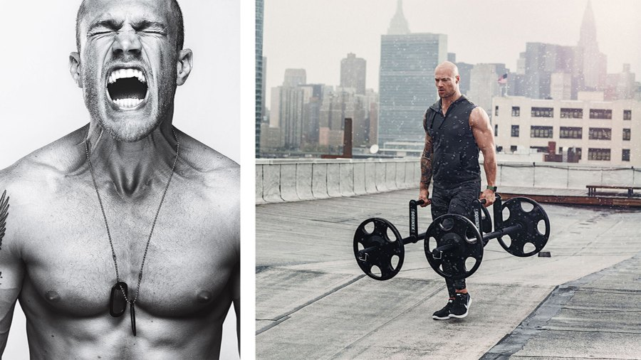 Man screaming out in rage on the left, and another man lifting heading weights on the rooftop of a building on the right