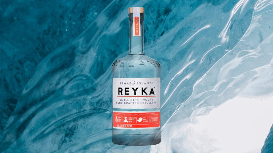 Reyka Vodka pictured in front of Icelandic ice cave