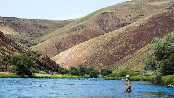 Man fly-fishing in river