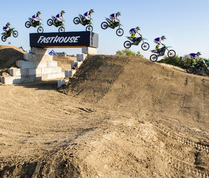 Multiple sequence images of rider Axell Hodges taking a jump