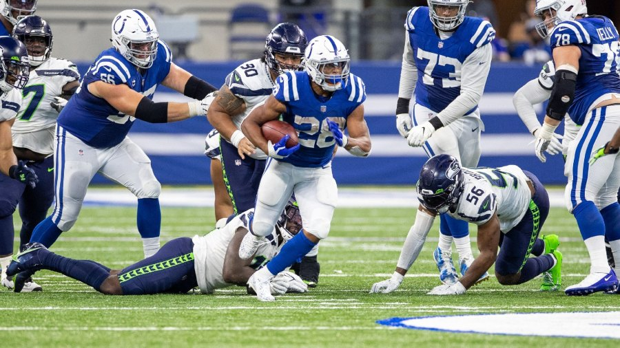 Indianapolis Colts running back Jonathan Taylor breaks free against the Seattle Seahawks.