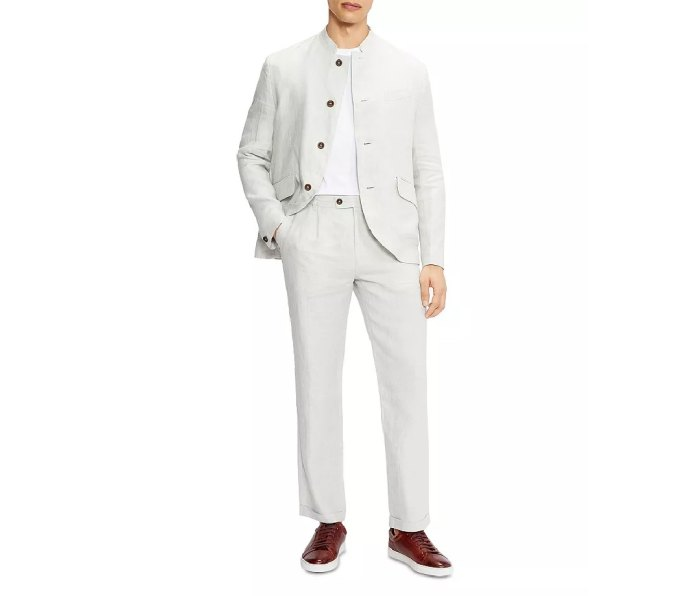 Ted Baker—Linen Band Collar Blazer and Linen Pleated Herringbone Trousers