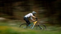 Man riding bright blue and yellow through trails