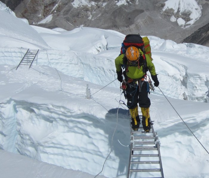 Ice climbing using double ladders on Everest