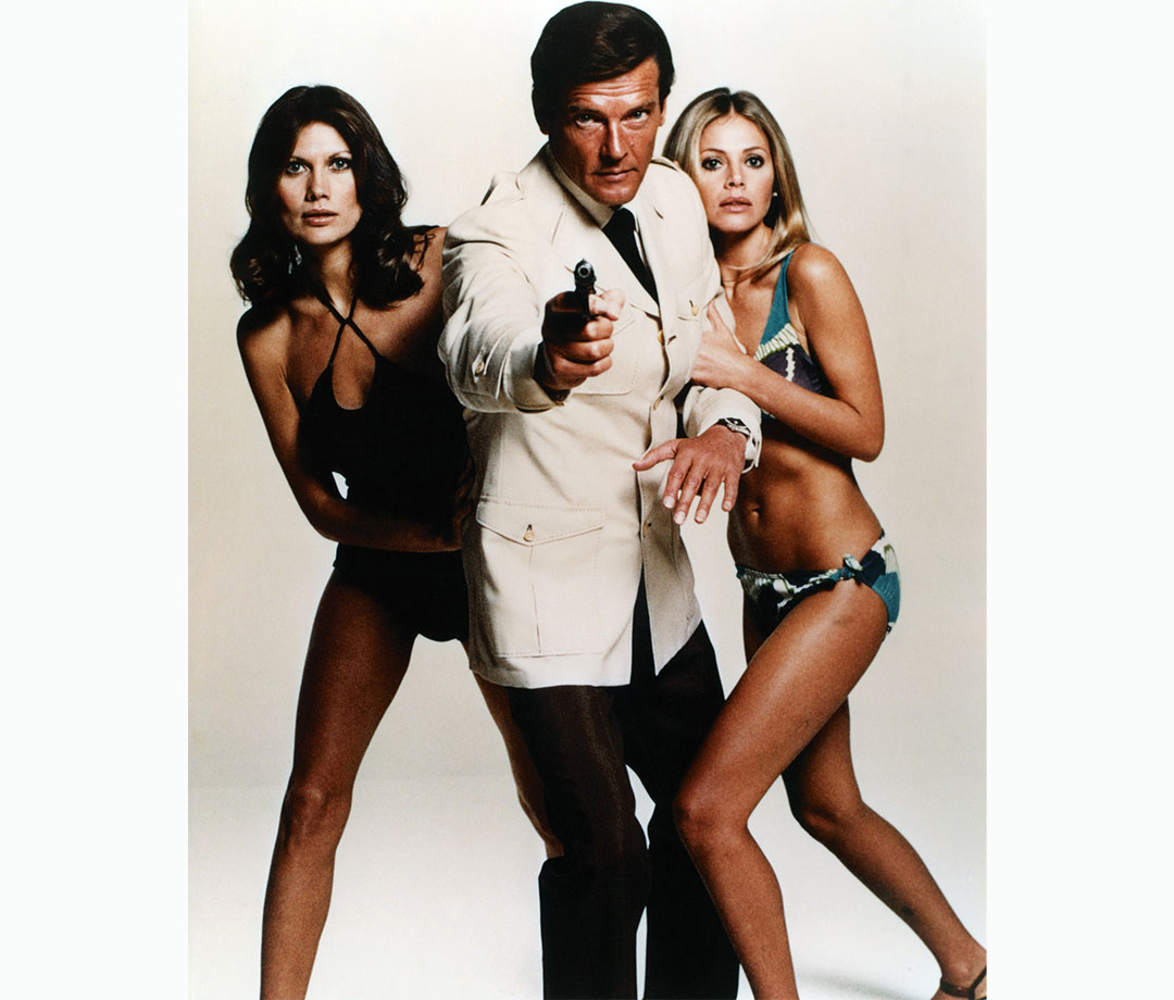 Maud Adams, Roger Moore, and Britt Ekland in 'The Man with the Golden Gun'