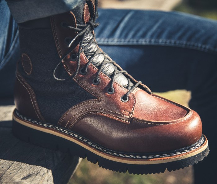 Blue and brown leather boot