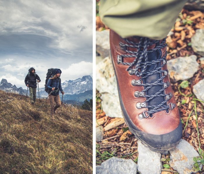 Composite image of hikers and brown leather hiking boot