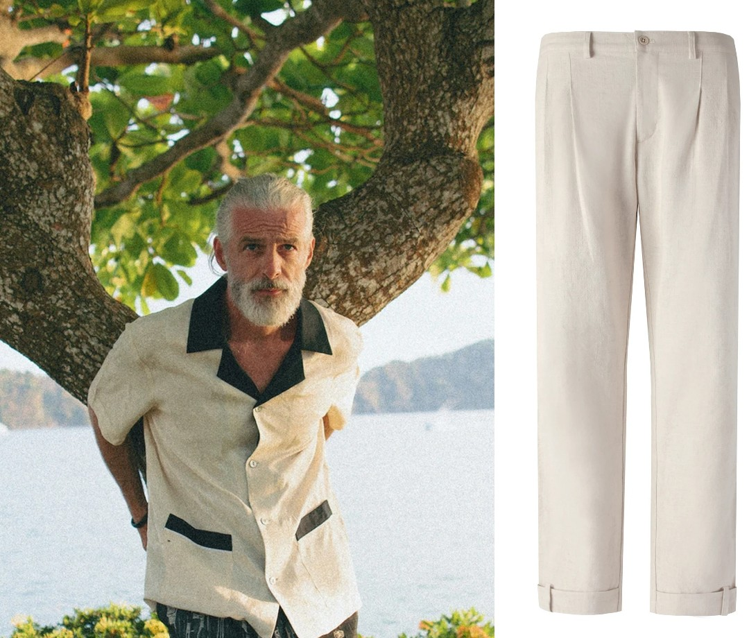 Tombolo 'Black Tie Optional' Cabana (Champagne) and Traveler Pants (Natural Linen)