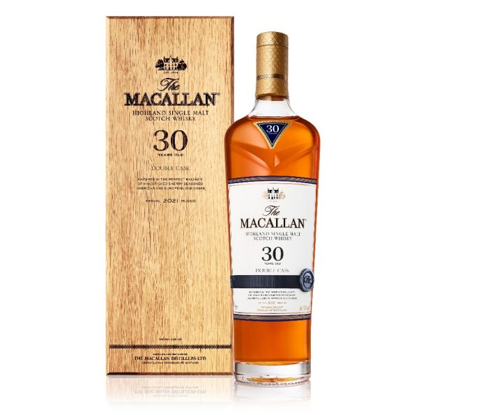 Bottle and wood container of Macallan Double Cask 30-Year-Old Single Malt Scotch Whisky