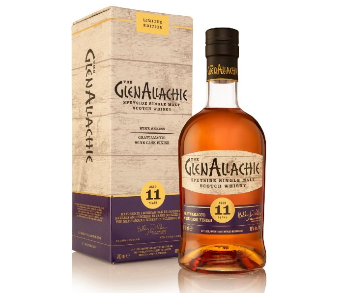 Bottle (and box container) of The GlenAllachie Speyside Single Malt Scotch Whisky, Aged 11 Years