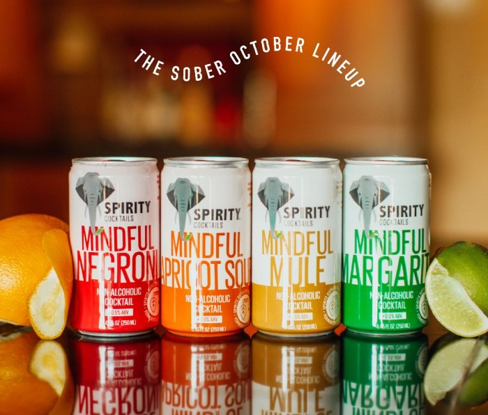 Four cans of SPIRITY Cocktails