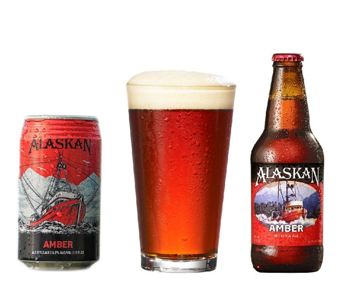 Can, filled pint glass and bottle of Alaskan Amber Ale beer