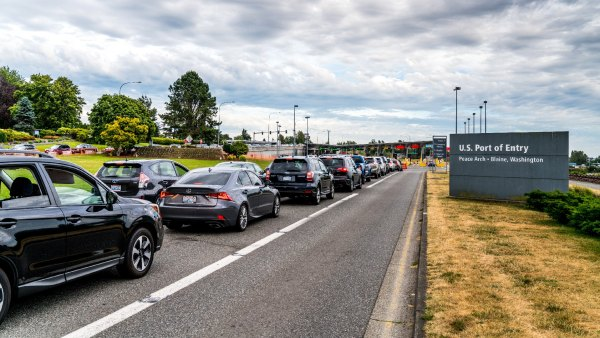 Cars wait in line at the U.S. border in Surrey, British Columbia, Canada.