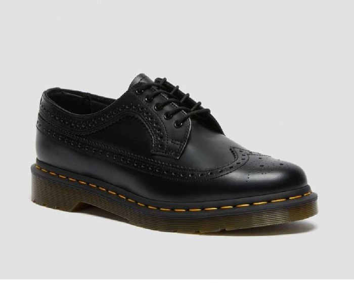 DR. MARTENS 3989 Yellow Stitch Smooth Leather Brogue Shoe