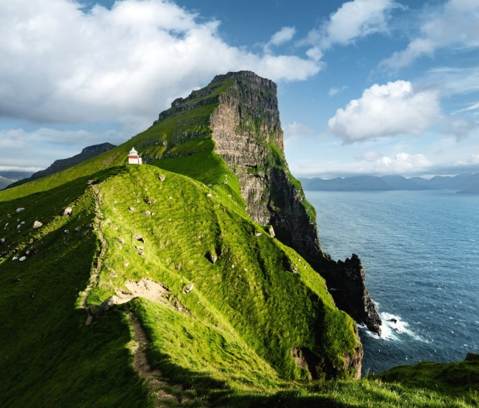 The Kallur lighthouse on the Faroese island of Kalsoy.