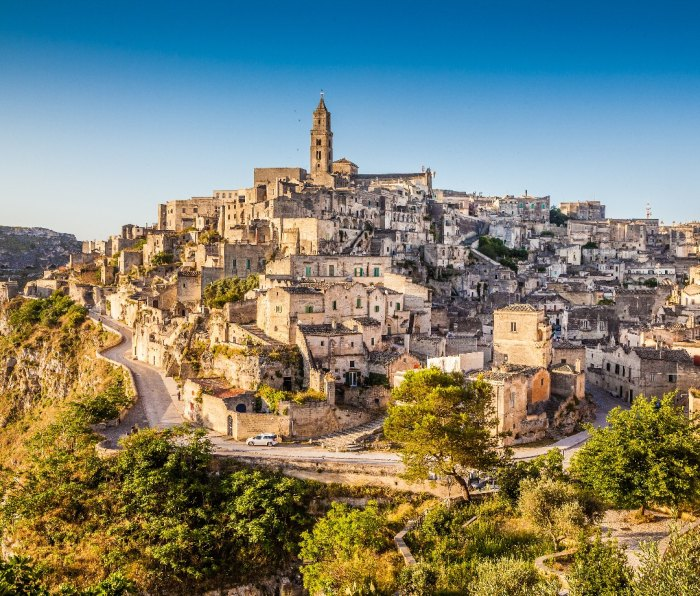 Sunrise over the town of Matera, Italy.