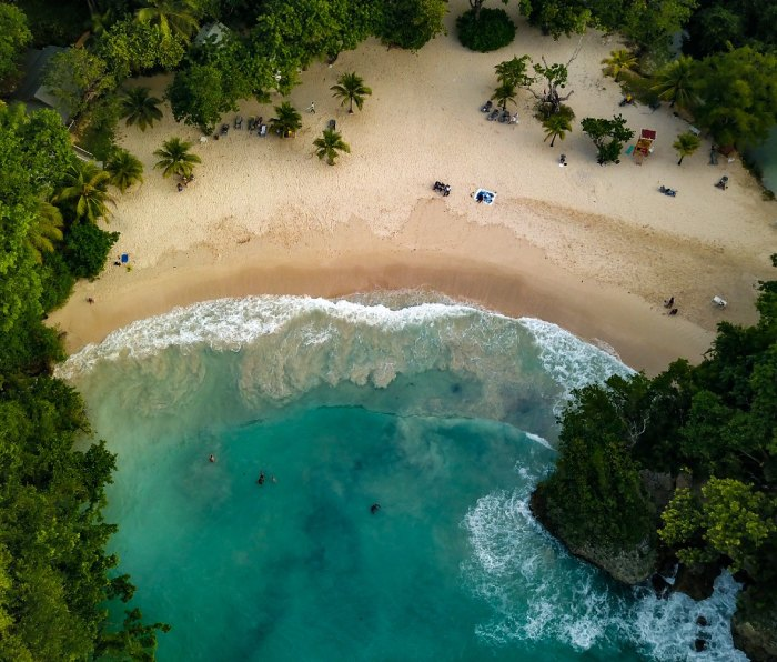 An aerial view of Frenchman's Cove in Port Antonio, Jamaica.