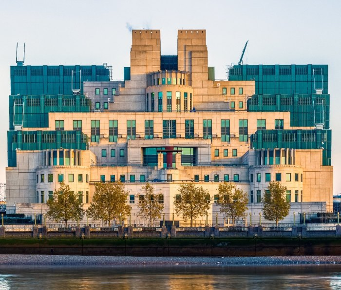 The SIS or MI6 building in London.