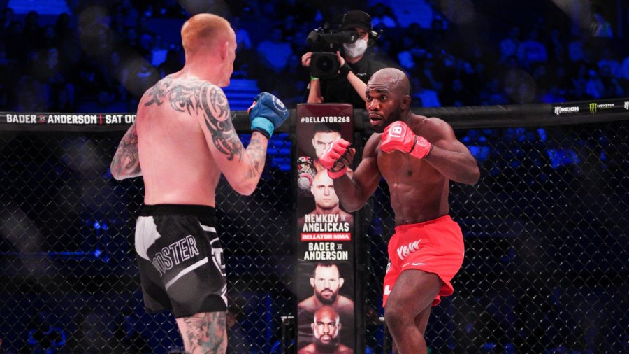 Two MMA fighters approach each other during a Bellator fight