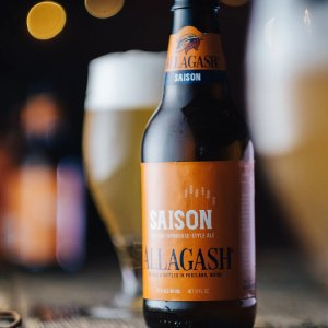 Bottle of Allagash Saison between two full glasses of beer