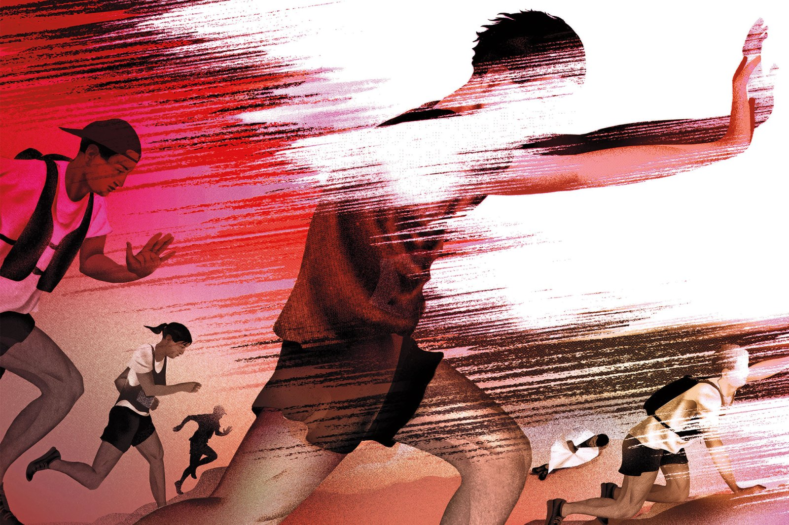 Illustration of runners against red flashes