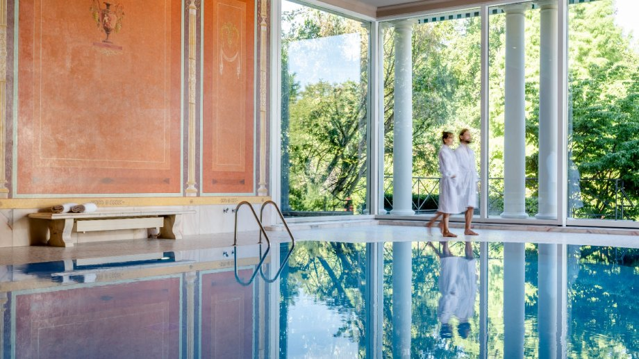Couple at spa with pool