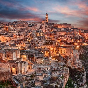 Landscape at dawn of the old town