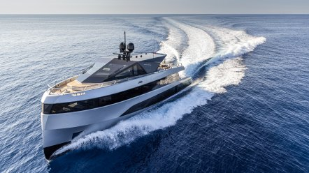 Aerial view of superyacht