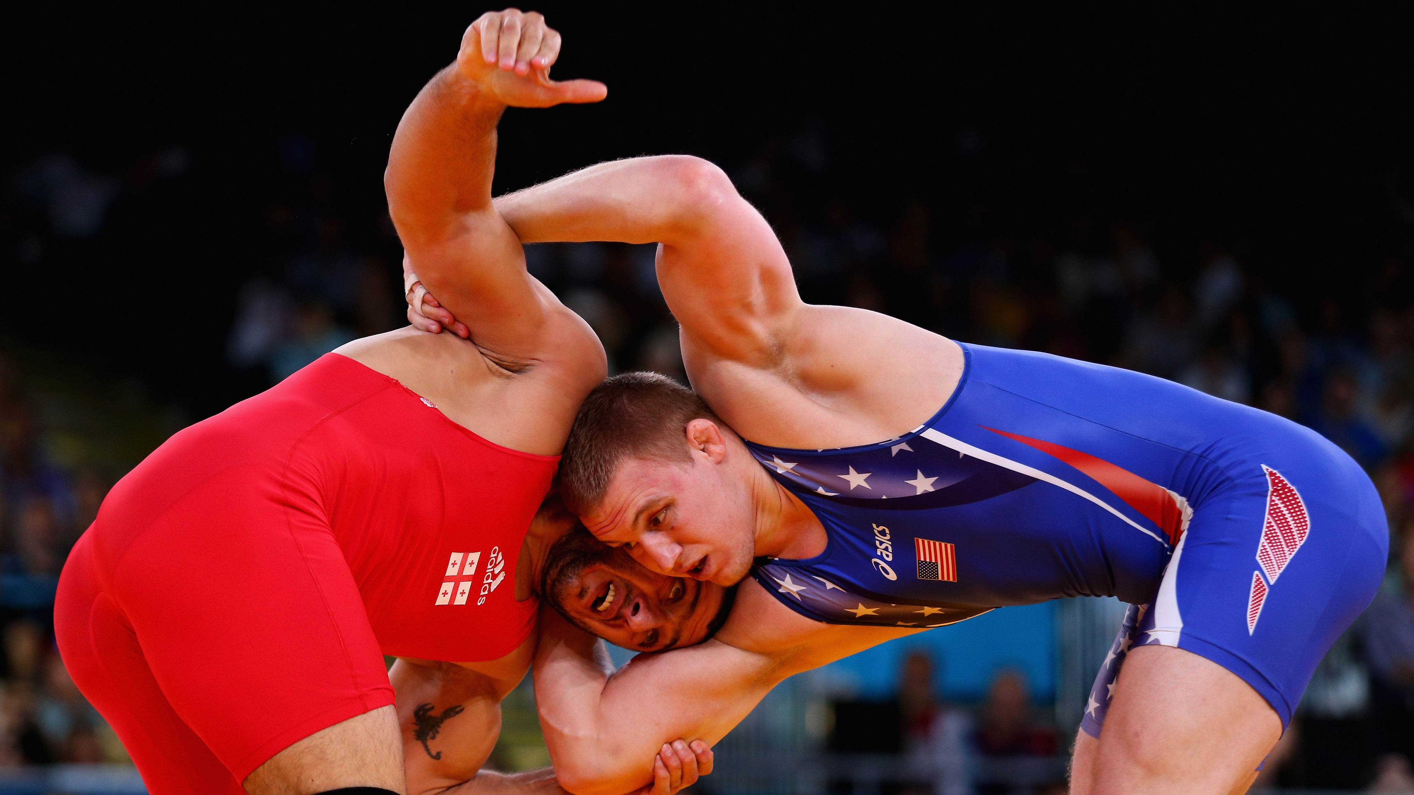 Jacob Stephen Varner of the United States in action against George Gogshelidze of Georgia during the Men's Freestyle Wrestling 96kg semi final match on Day 16 of the London 2012 Olympic Games at ExCeL on August 12, 2012 in London, England.