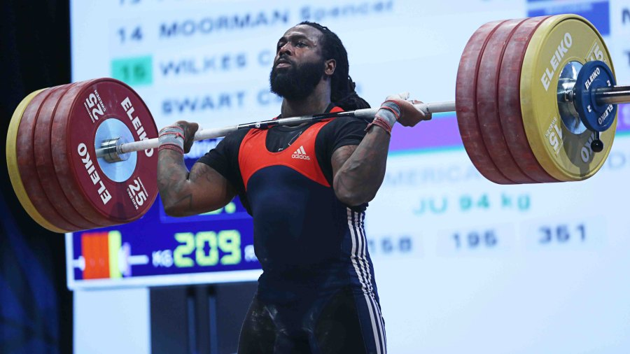 Kendrick Farris competes in the Men's 94kg snatch weight class at the USA Olympic Team Trials for weightlifting at the Calvin L. Rampton Convention Center on May 8, 2016 in Salt Lake City, Utah.