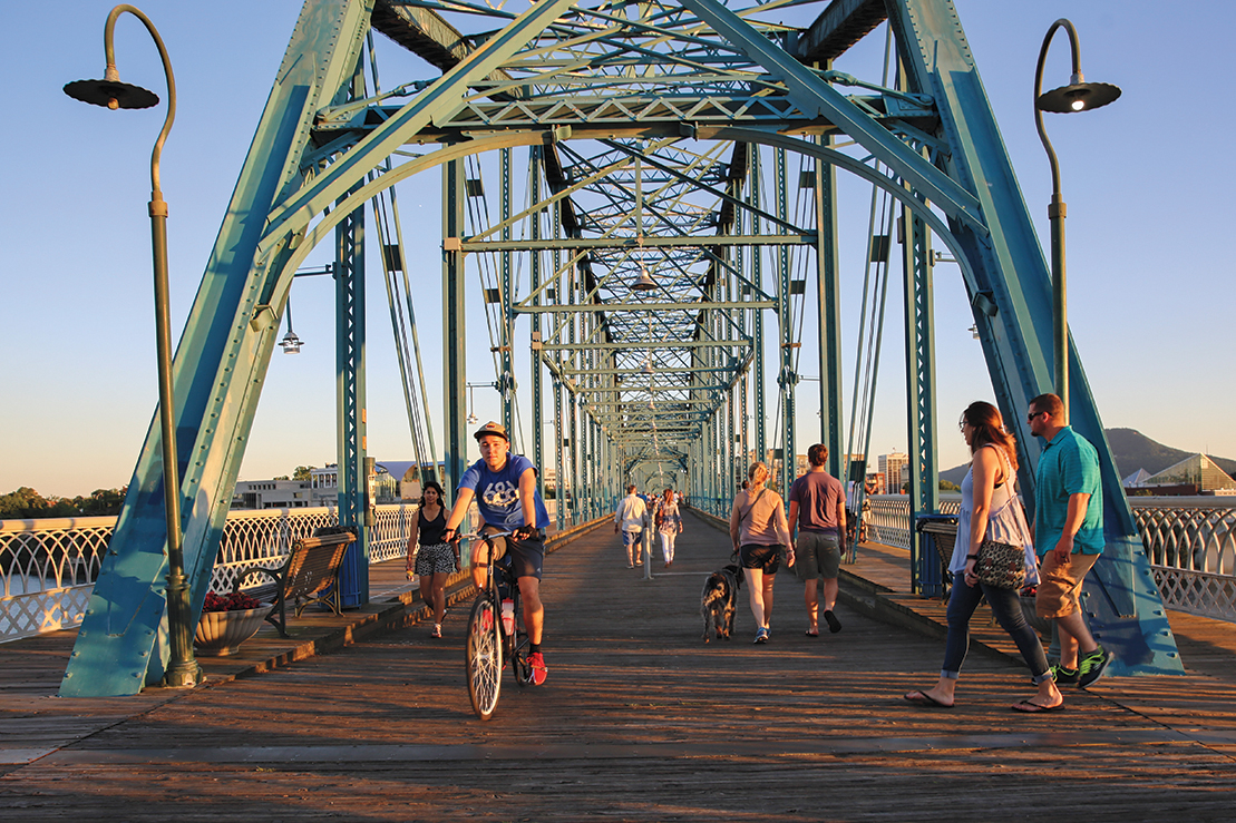 Commuters on the Walnut Street Bridge.