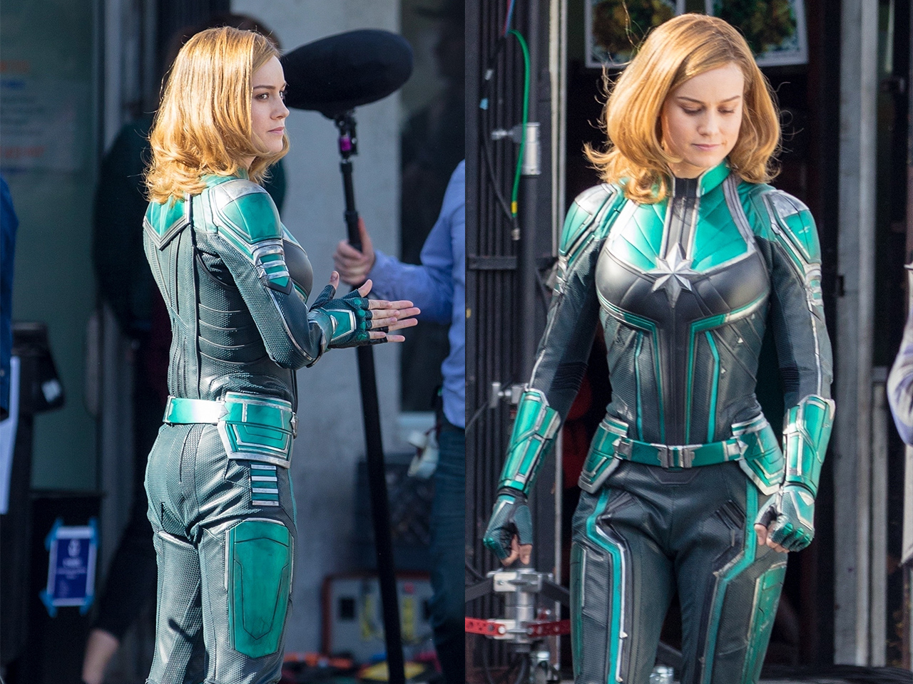 Photos Brie Larson S Captain Marvel Costume Revealed On Movie Set Brie can be seen wearing a green suit, that borrows heavily from the comics. brie larson s captain marvel costume
