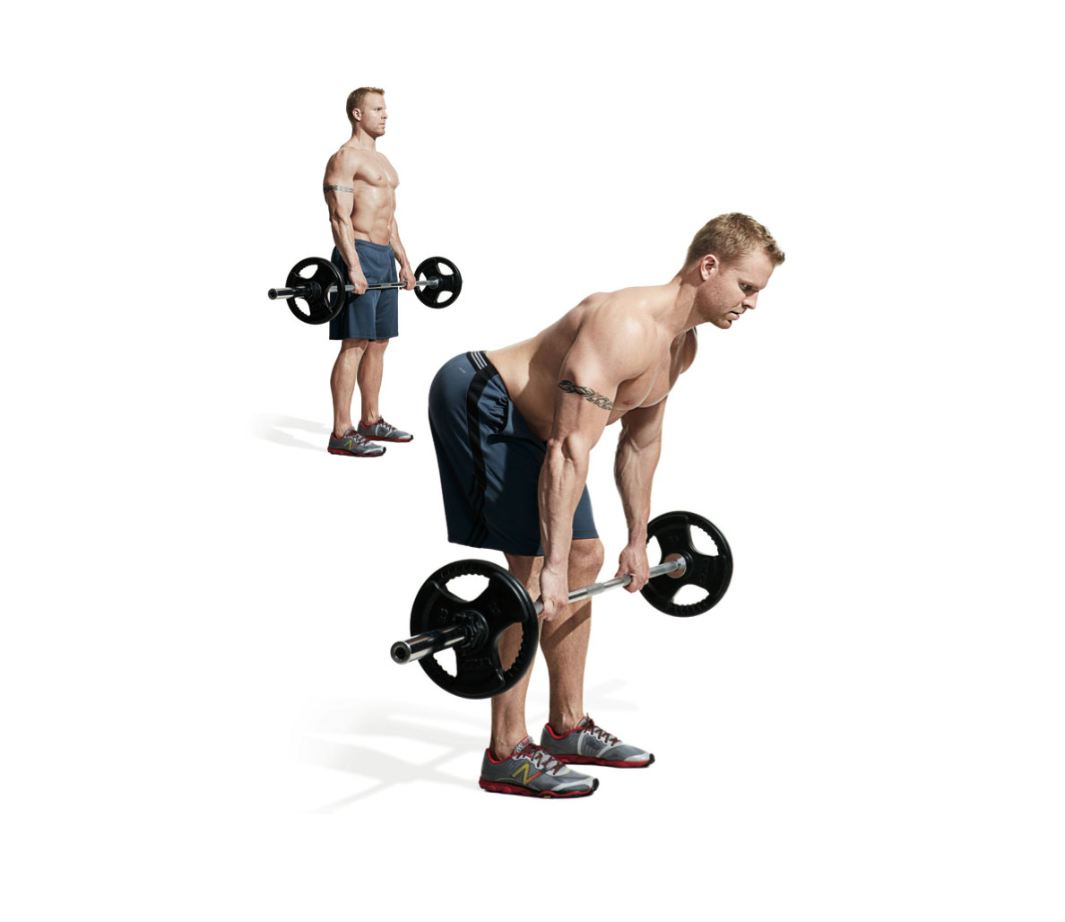 Full body workout with barbell exercises for muscle growth