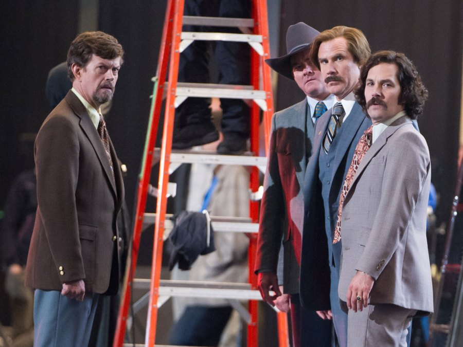 Actors on the set of Anchorman