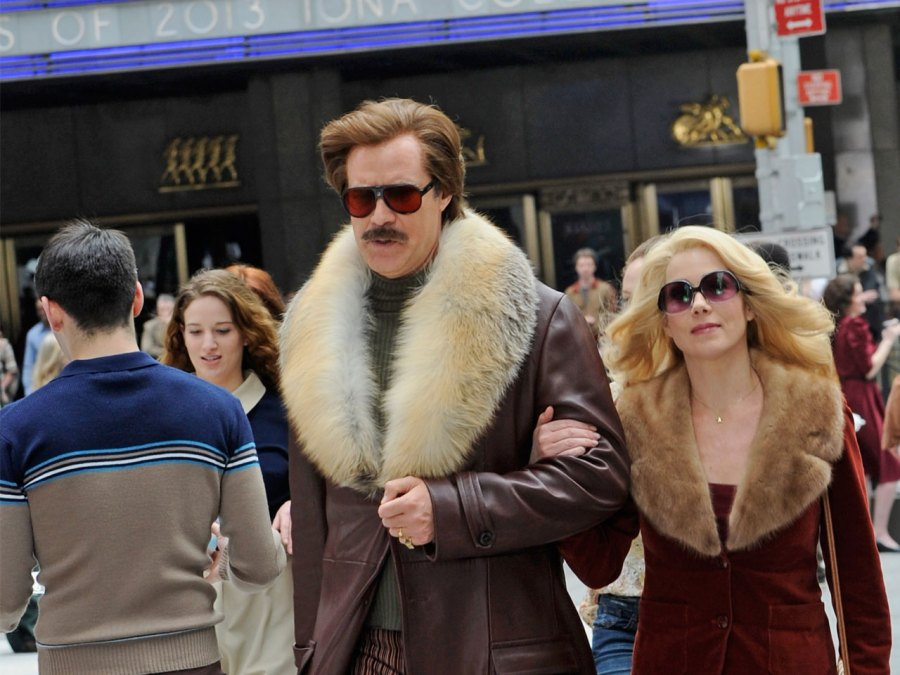 Will Ferrell and Christina Applegate filming on location for 'Anchorman: The Legend Continues