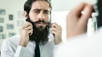 Styling Beard in Mirror