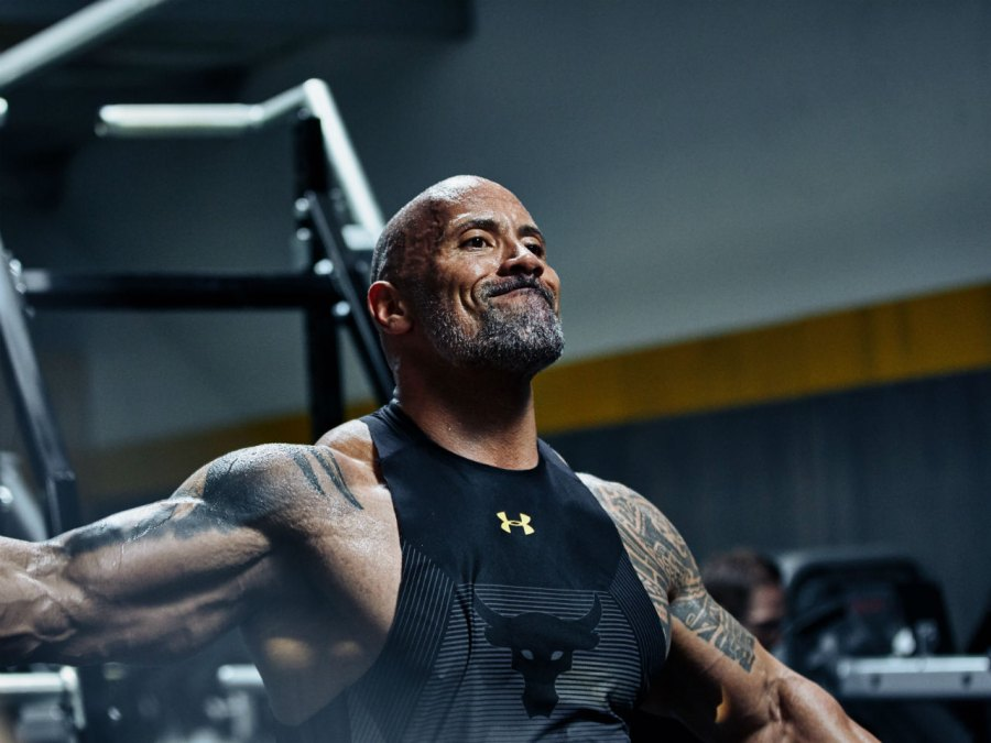 Dwayne Johnson wearing his new Under Armour Project Rock clothing