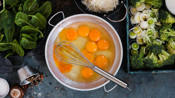 Bowl of Cracked Eggs With Greens