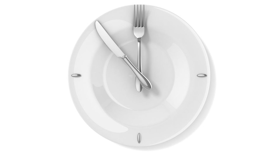 Empty Plate with Fork and Knife acting as Hands of Time