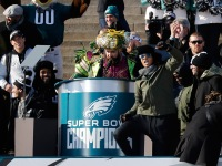 Jason Kelce speaks at a ceremony honoring the Philadelphia Eagles Super Bowl win