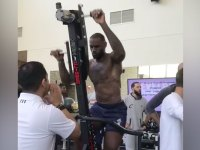 LeBron James of the Cleveland Cavaliers in the gym