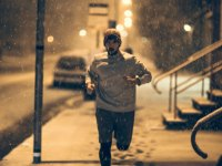 Man Running in the Snow